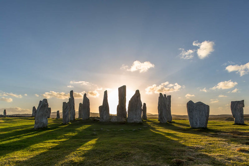 Sunset at Callanish, a site linked with goddess worship. A profoundly impressive place in real life.